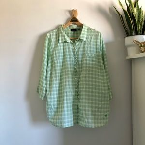 Green Plaid Button Down w Ruffle Detail